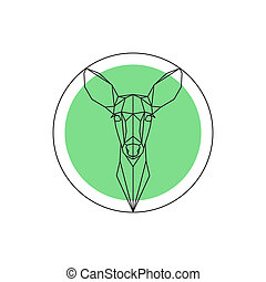 Geometric image of a deer head - Vector geometric image of a...