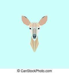 Roe deer head logo - Roe Deer head geometry logo. Vector...