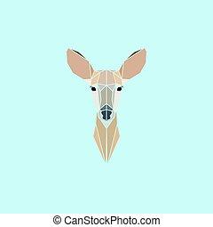 logo, tête, cerf, chevreuil