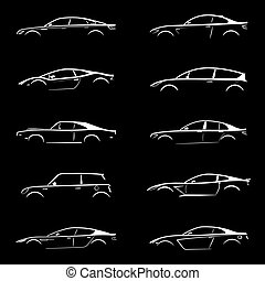 Set of white silhouette car on black background. Vector...