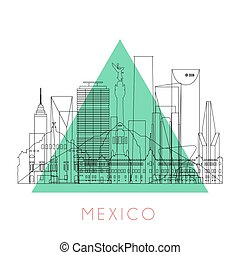 Outline Mexico skyline with black landmarks. Vector...