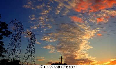 Silhouette electricity in sunset
