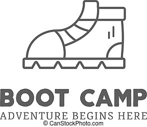 Camping adventure logo design with boot and typography...