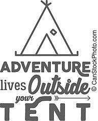Camping logo with typography saying and travel elements -...