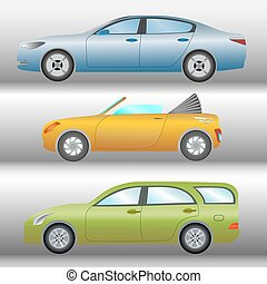Set of cars of different types and colors