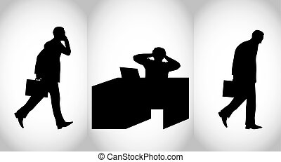 Business persons mood during the working day - Vector...