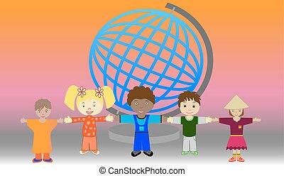 Children of the world - Vector illustration of children...