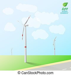 Wind turbines on the background of field and road