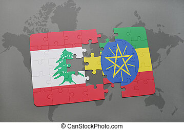 puzzle with the national flag of lebanon and ethiopia on a...