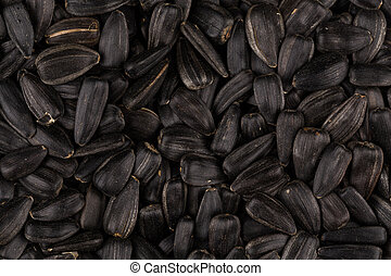 Heap of black sunflower seeds as a background