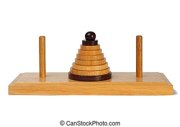 Towers of Hanoi - Wooden towers of Hanoi isolated on white...