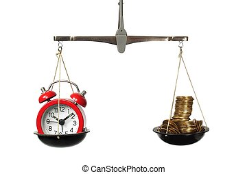 Time is money concept with scales, clock and coins