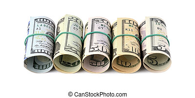 Dollar bills rolled up and tied with a rope. Isolated on white background
