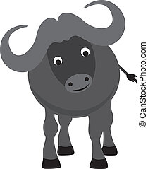 buffalo cartoon - buffalo modern colour cartoon character on...
