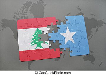 puzzle with the national flag of lebanon and somalia on a...
