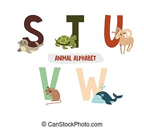 illustration with letters and animals. book for children. ABC.  S, T, U, V, W