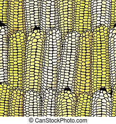 Corn seamless food vector background isolated cob plant.