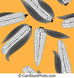 Corn seamless food vector background isolated cob plant