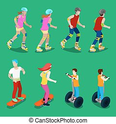 Isometric Active Sporty People on Roller-Skates, Segway and...
