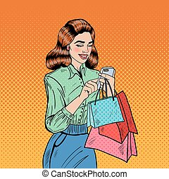 Happy Woman with Bags Using Smart Phone at Shopping. Pop Art Vector illustration