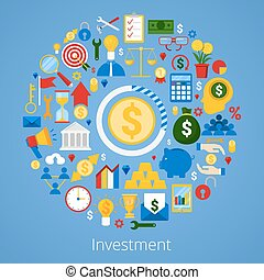 Financial Investment Vector Icons Set