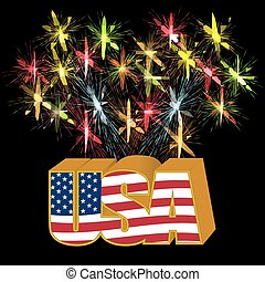 Volumetric 3D US stylized inscription under the colors of the flag on the background of fireworks illustration