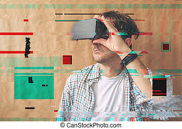 Man with VR goggles exploring virtual reality econtent and...