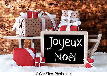Sleigh With Gifts, Snow, Bokeh, Joyeux Noel Means Merry...