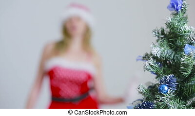 Sexy Santa Girl caresses herself. sex games. erotic dance -...