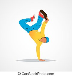 Breakdance silhouette man - Breakdancer dancing and making a...