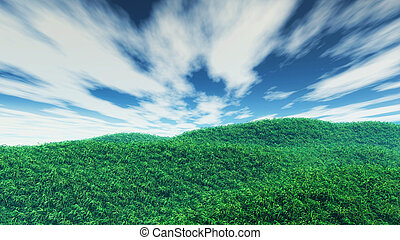 3D grassy landscape - 3D render of a grassy landscape with...