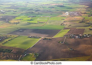 Fileds from the air - Aerial view of farmlands in Scania