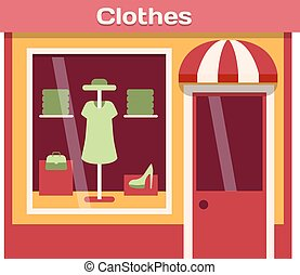 Shop facade vector illustration - Vector flat design shop...