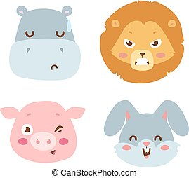 Animal emotion avatar vector icon - Cute animals head...