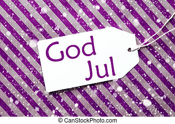 Label On Purple Paper, Snowflakes, God Jul Means Merry...