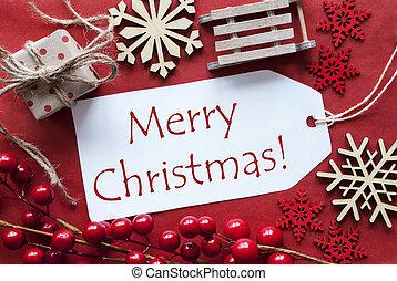 decoración, texto, navidad, alegre, etiqueta