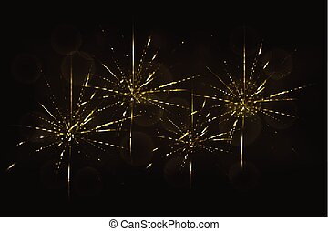 New years eve golden fireworks