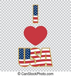 Inscription I love the USA on a plaid background illustration