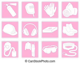 Set icons protective equipment in industry - Vector...