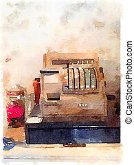 DW Old cash register