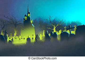 spooky castle,Halloween concept,cemetery at...