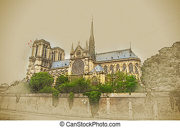 notre-dame church, view from seine, southern facade. Modern...