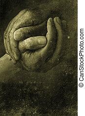 Hands - two hands shaking in retro design look