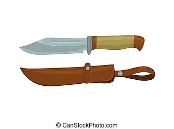 Military knife with leather sheath on white background Knife...