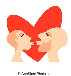 kissing couple - Stylized groom and bride on a blue...