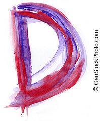 Watercolor Font illustration LETTER D - Font watercolor...