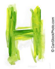 Watercolor Font illustration LETTER H - Font watercolor...