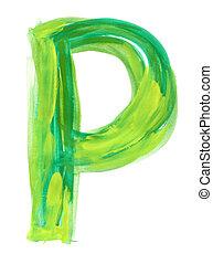 Watercolor Font illustration LETTER P - Font watercolor...