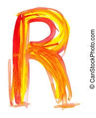Watercolor Font illustration LETTER R - Font watercolor...