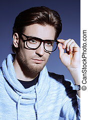 glasses for myopia - Imposing young man in spectacles Mens...